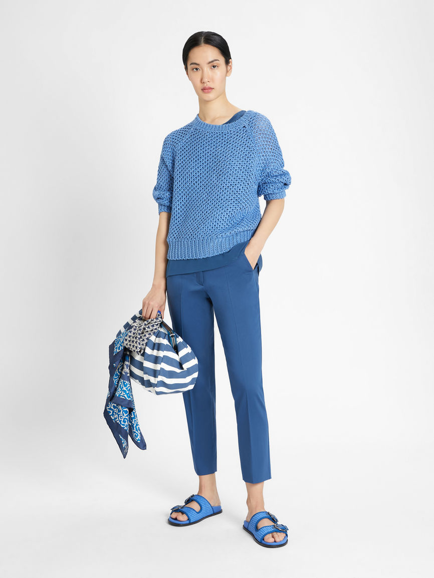 Womens Max Mara Trousers And Jeans | Cotton Sateen Trousers China Blue