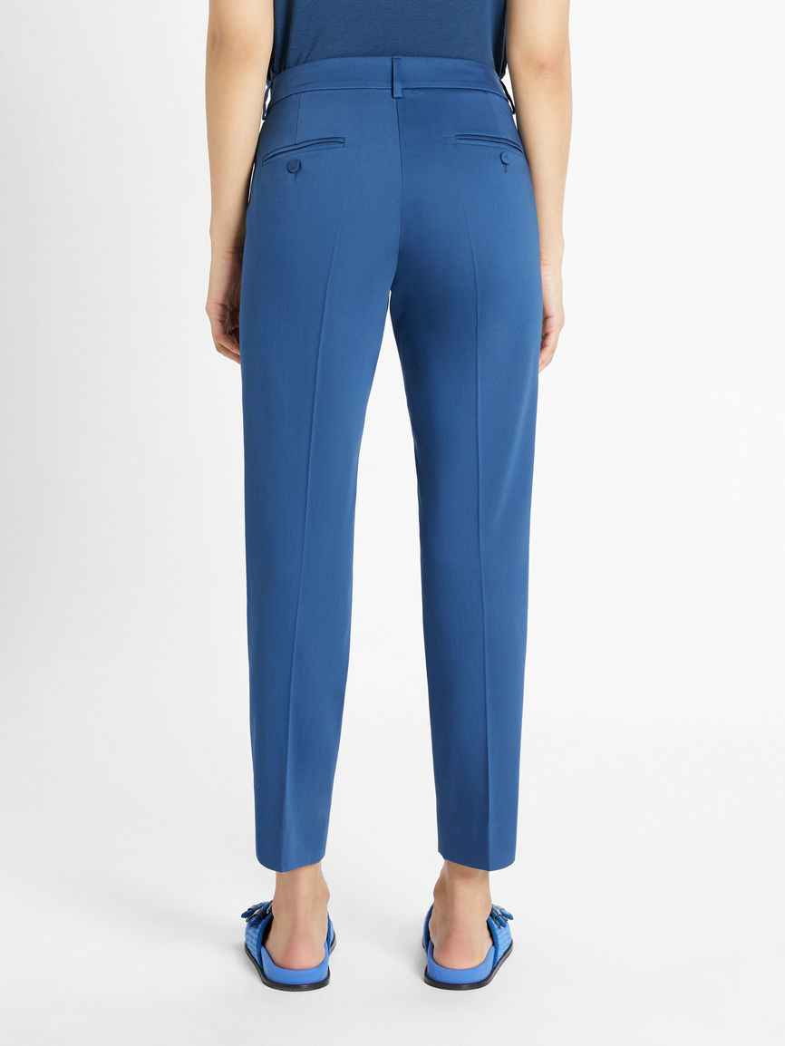 Womens Max Mara Trousers And Jeans   Cotton Sateen Trousers China Blue
