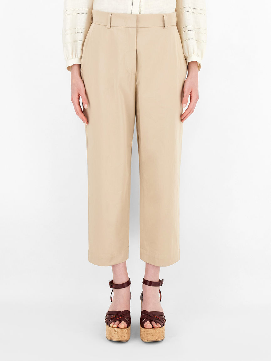 Womens Max Mara Trousers And Jeans   Cotton Sateen Trousers Clay