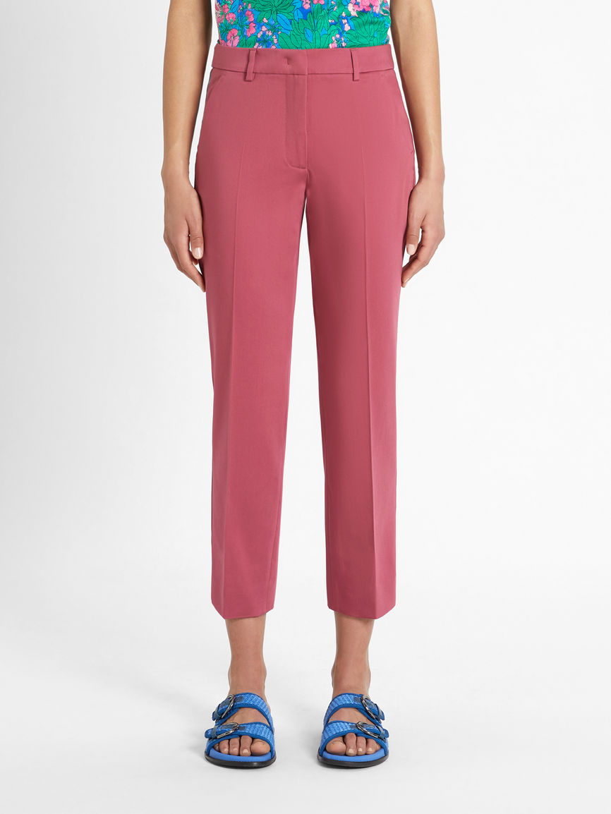 Womens Max Mara Trousers And Jeans | Cotton Sateen Trousers Dark Mauve