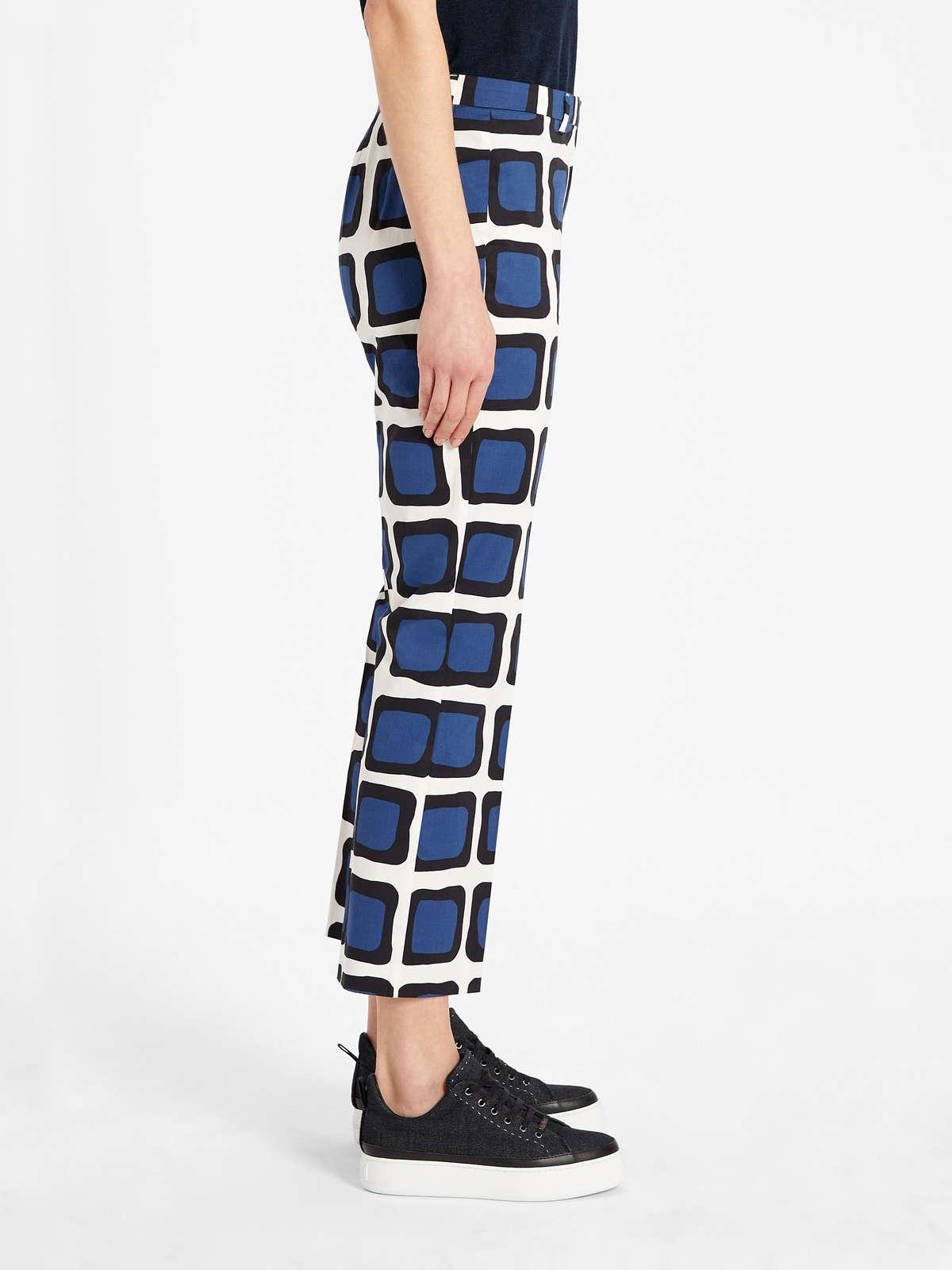 Womens Max Mara Trousers And Jeans   Cotton Satin Trousers Navy