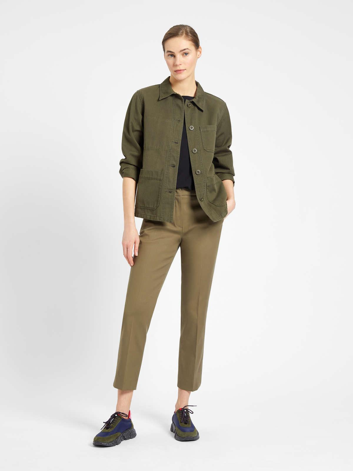 Womens Max Mara Trousers And Jeans | Cotton Trousers Kaki
