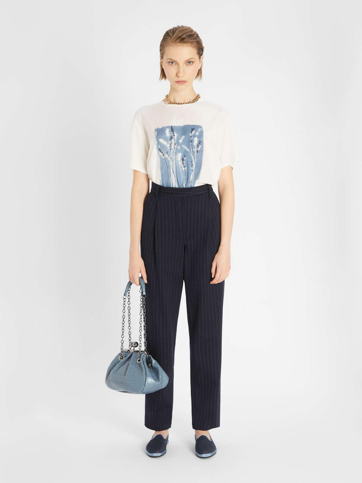 Womens Max Mara Trousers And Jeans   Cotton Viscose Trousers Navy