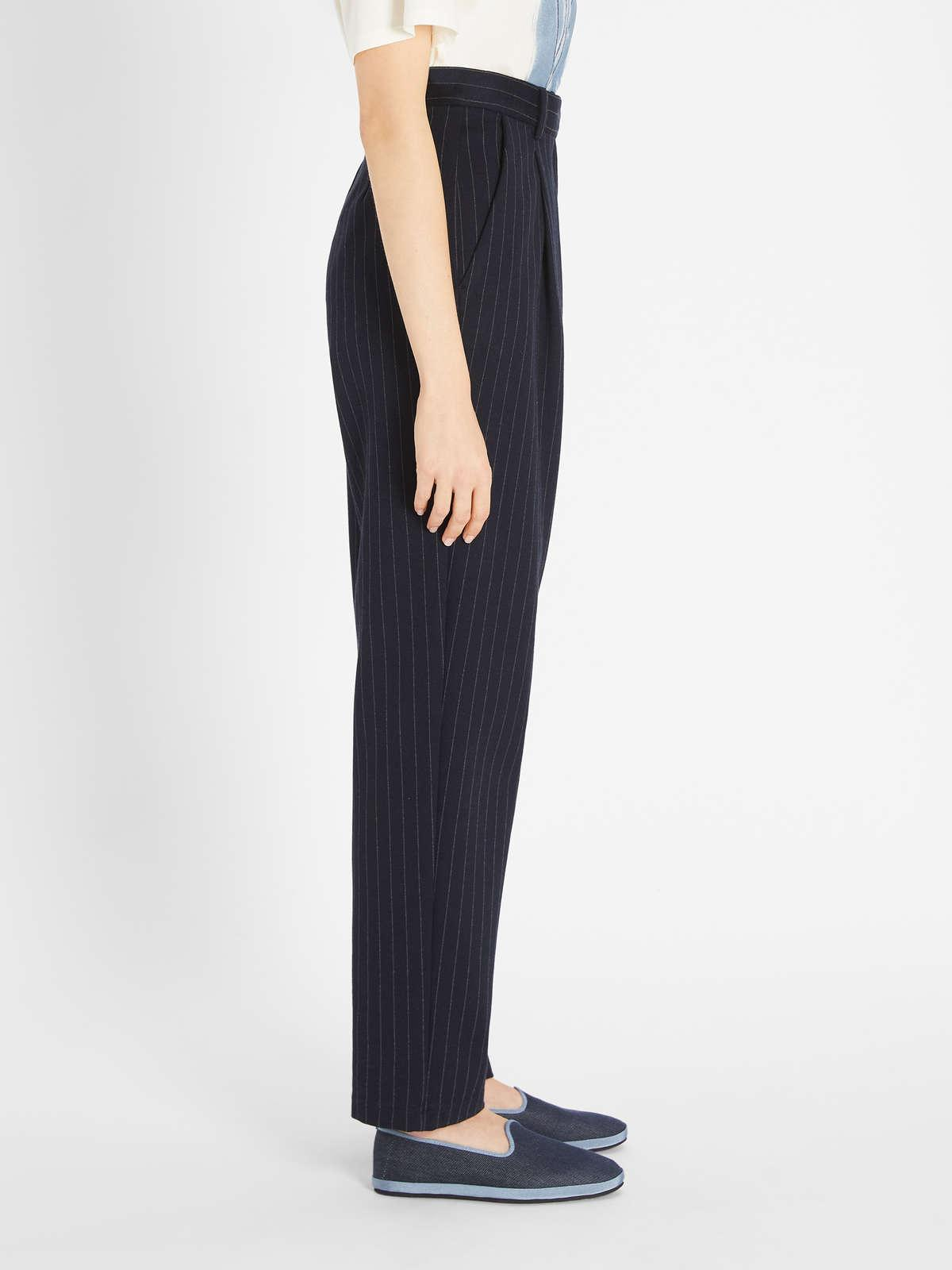 Womens Max Mara Trousers And Jeans | Cotton Viscose Trousers Navy