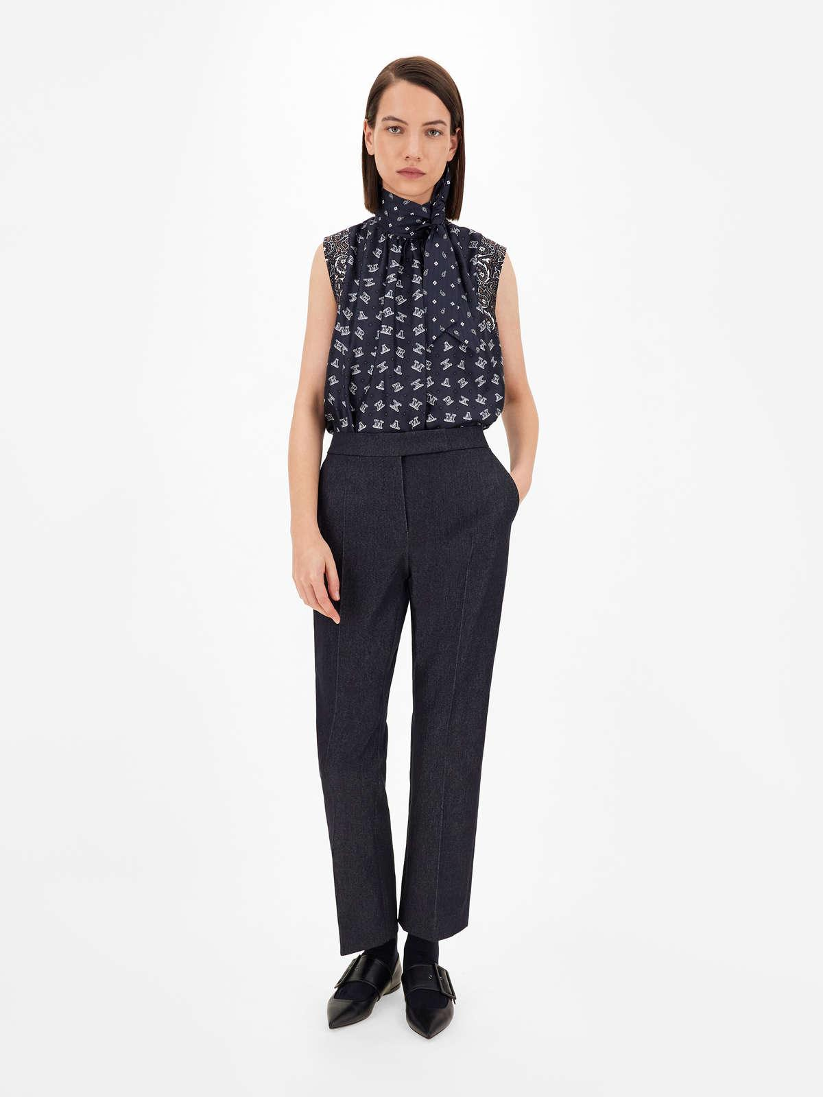 Womens Max Mara Trousers And Jeans   Denim-Effect Cotton Trousers Ultramarine