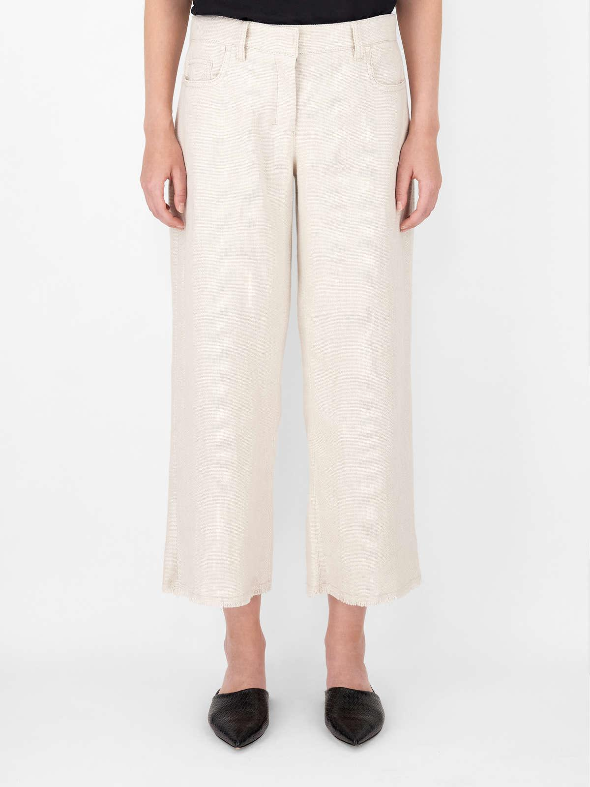 Womens Max Mara Trousers And Jeans | Linen And Cotton Basketweave Trousers Ecru