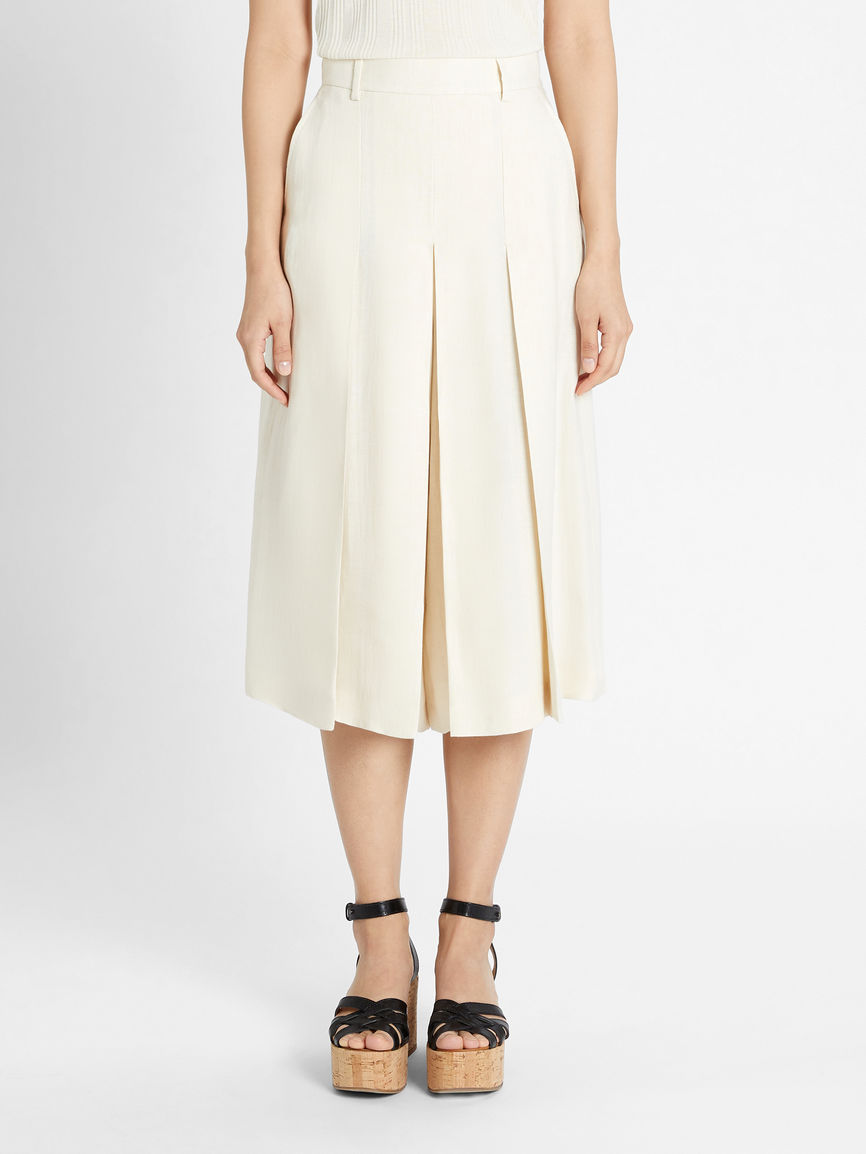 Womens Max Mara Trousers And Jeans   Linen Canvas Culottes Ivory