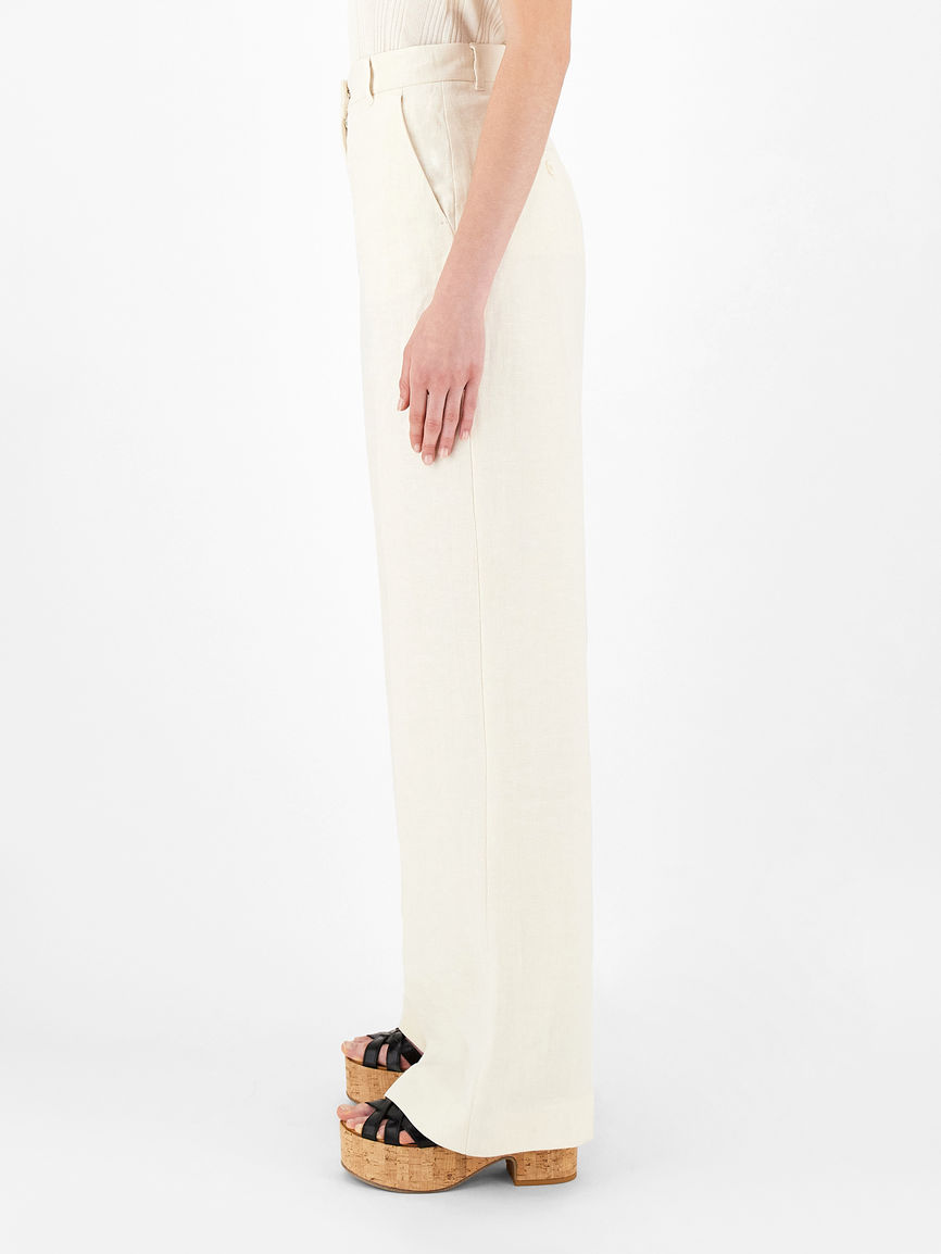 Womens Max Mara Trousers And Jeans | Linen Canvas Trousers Ivory