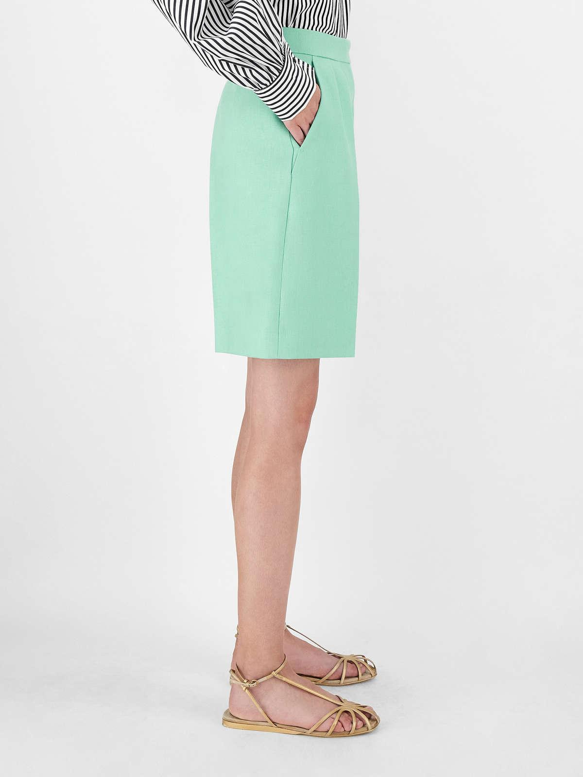 Womens Max Mara Trousers And Jeans | Linen Gabardine Shorts Turquoise