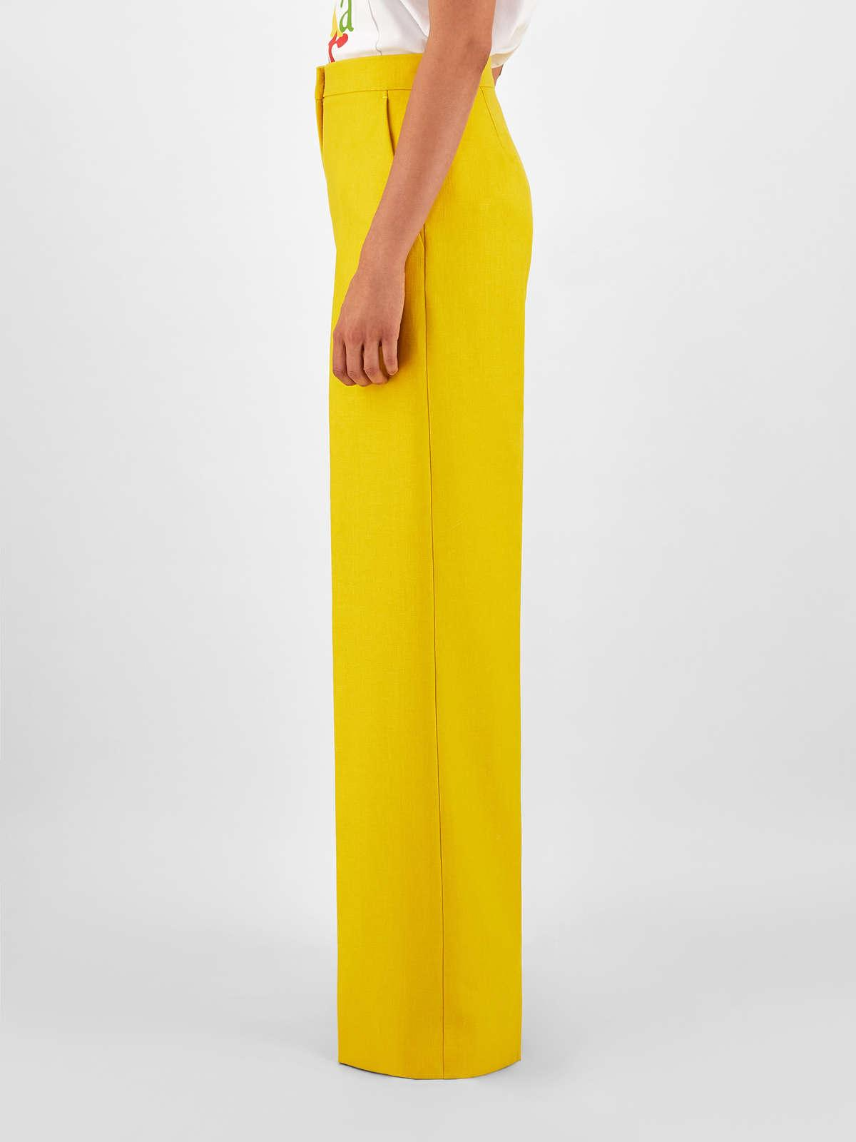 Womens Max Mara Trousers And Jeans | Linen Gabardine Trousers Yellow