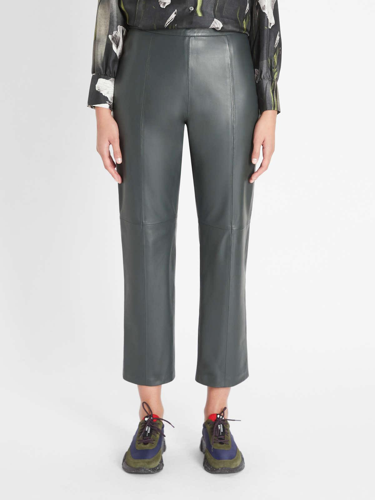 Womens Max Mara Trousers And Jeans | Nappa Leather Trousers Dark Green