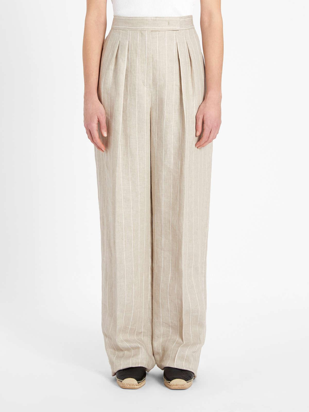 Womens Max Mara Trousers And Jeans | Pinstripe Linen Twill Trousers Sand