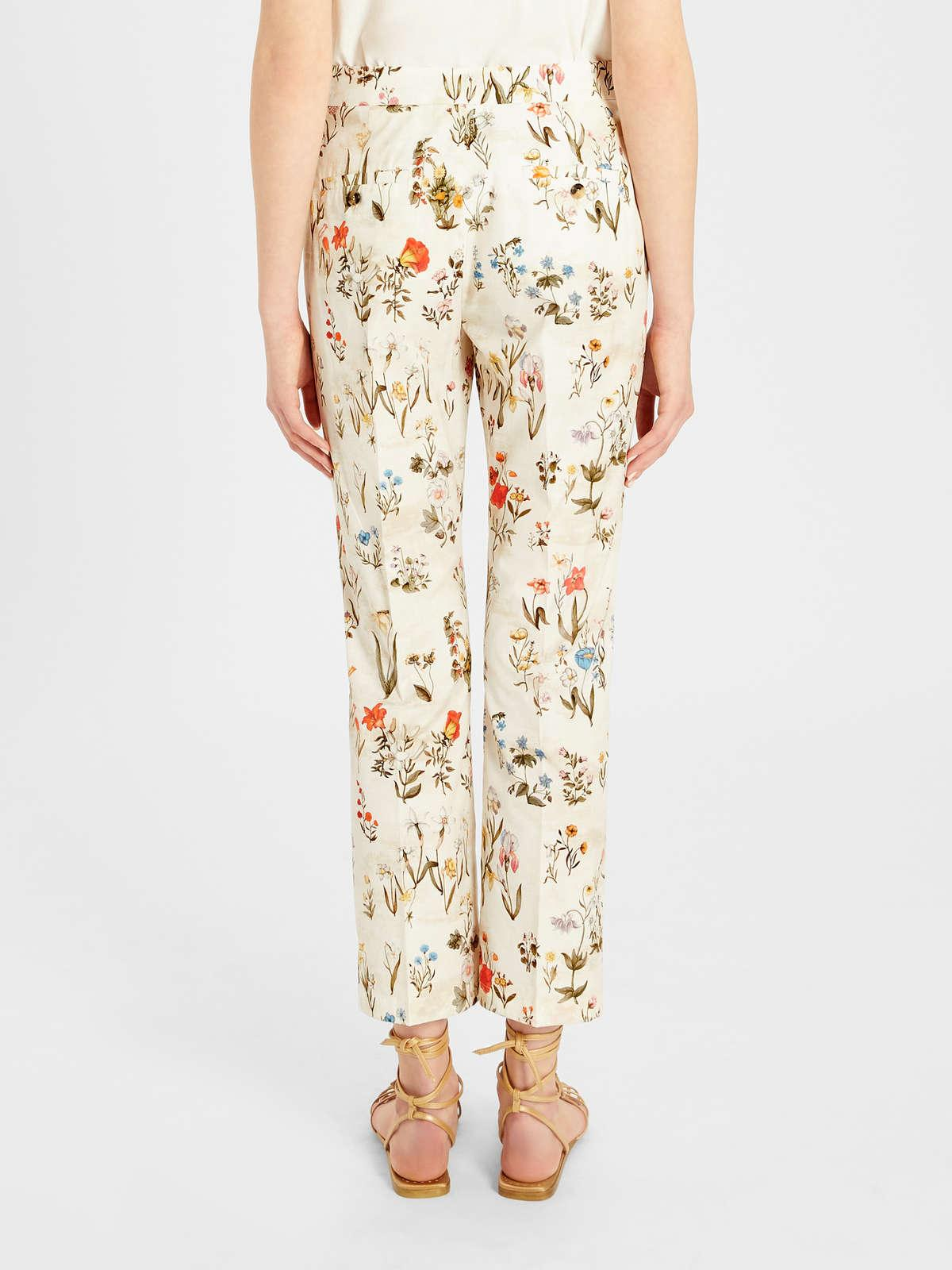 Womens Max Mara Trousers And Jeans | Printed Cotton Poplin Trousers White