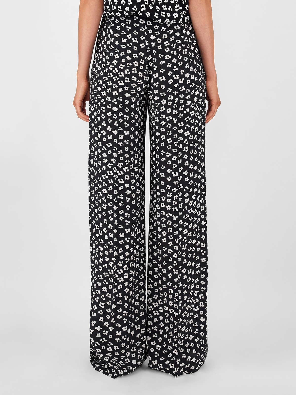 Womens Max Mara Trousers And Jeans | Printed Silk Crepe De Chine Trousers Black