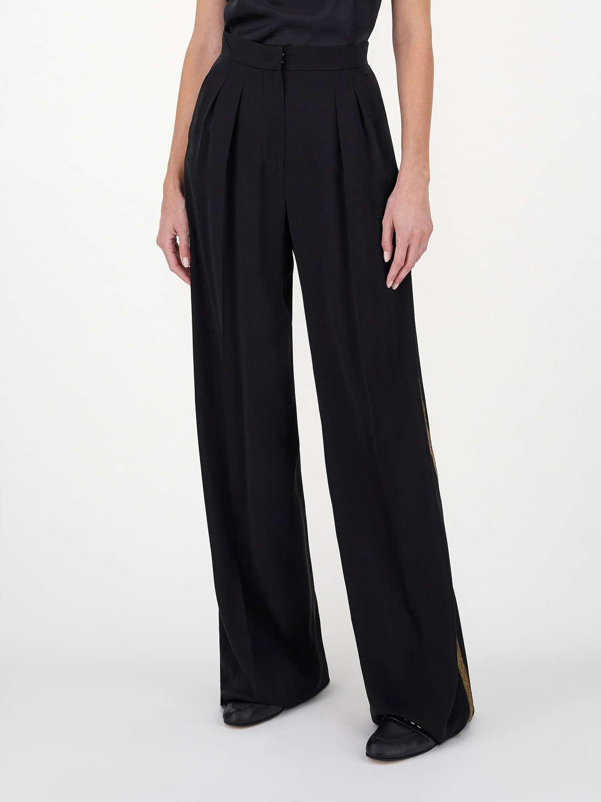 Womens Max Mara Trousers And Jeans   Pure Silk Charmeuse Trousers Black