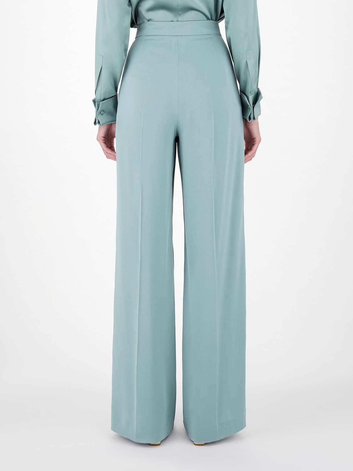 Womens Max Mara Trousers And Jeans   Pure Silk Charmeuse Trousers Green