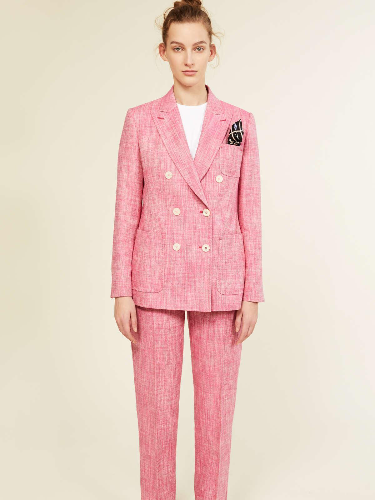 Womens Max Mara Trousers And Jeans | Silk And Linen Basketweave Trousers Fuchsia