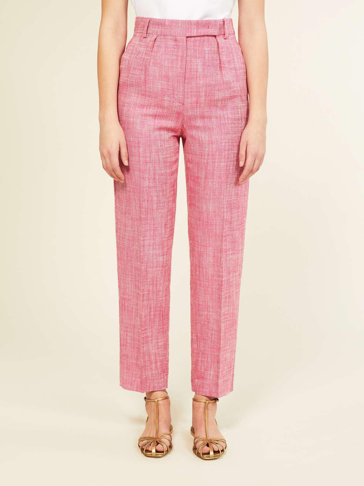 Womens Max Mara Trousers And Jeans   Silk And Linen Basketweave Trousers Fuchsia