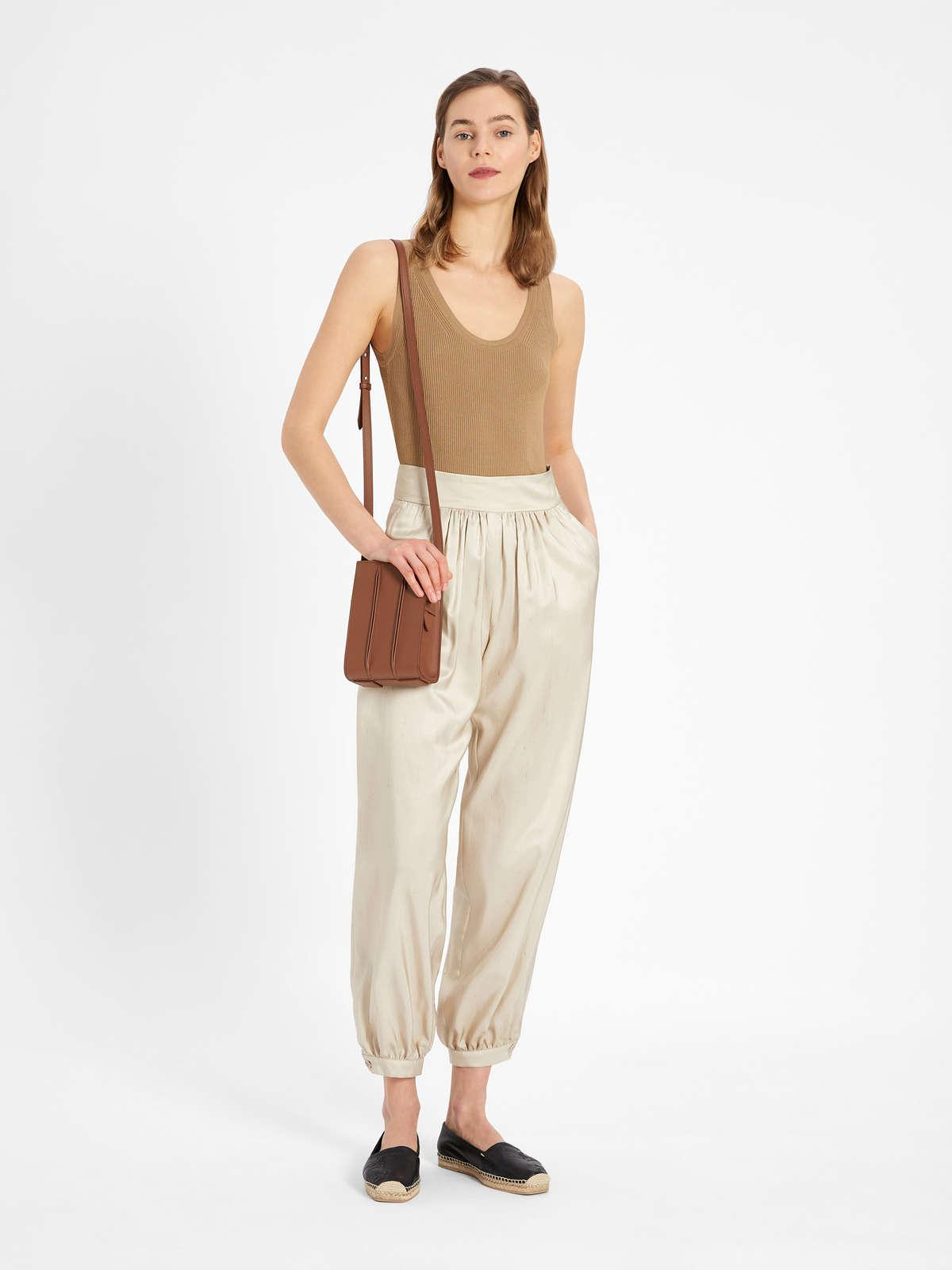 Womens Max Mara Trousers And Jeans | Silk Shantung Trousers Sand