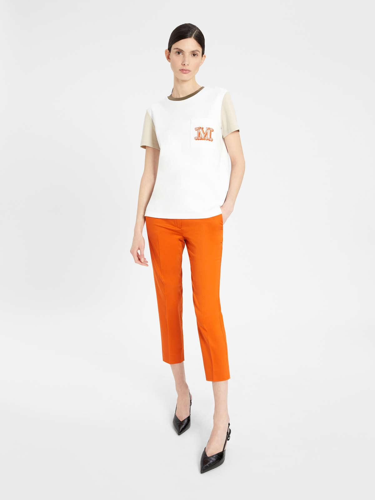 Womens Max Mara Trousers And Jeans   Stretch Cotton Satin Trousers Orange