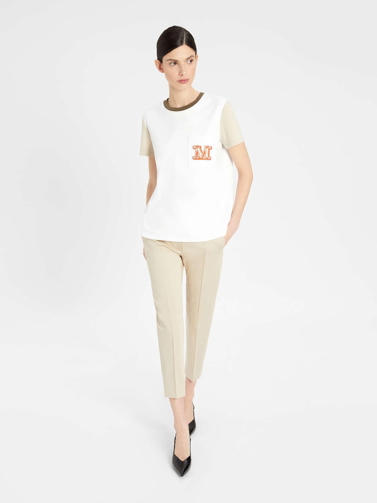 Womens Max Mara Trousers And Jeans   Stretch Cotton Satin Trousers Sand