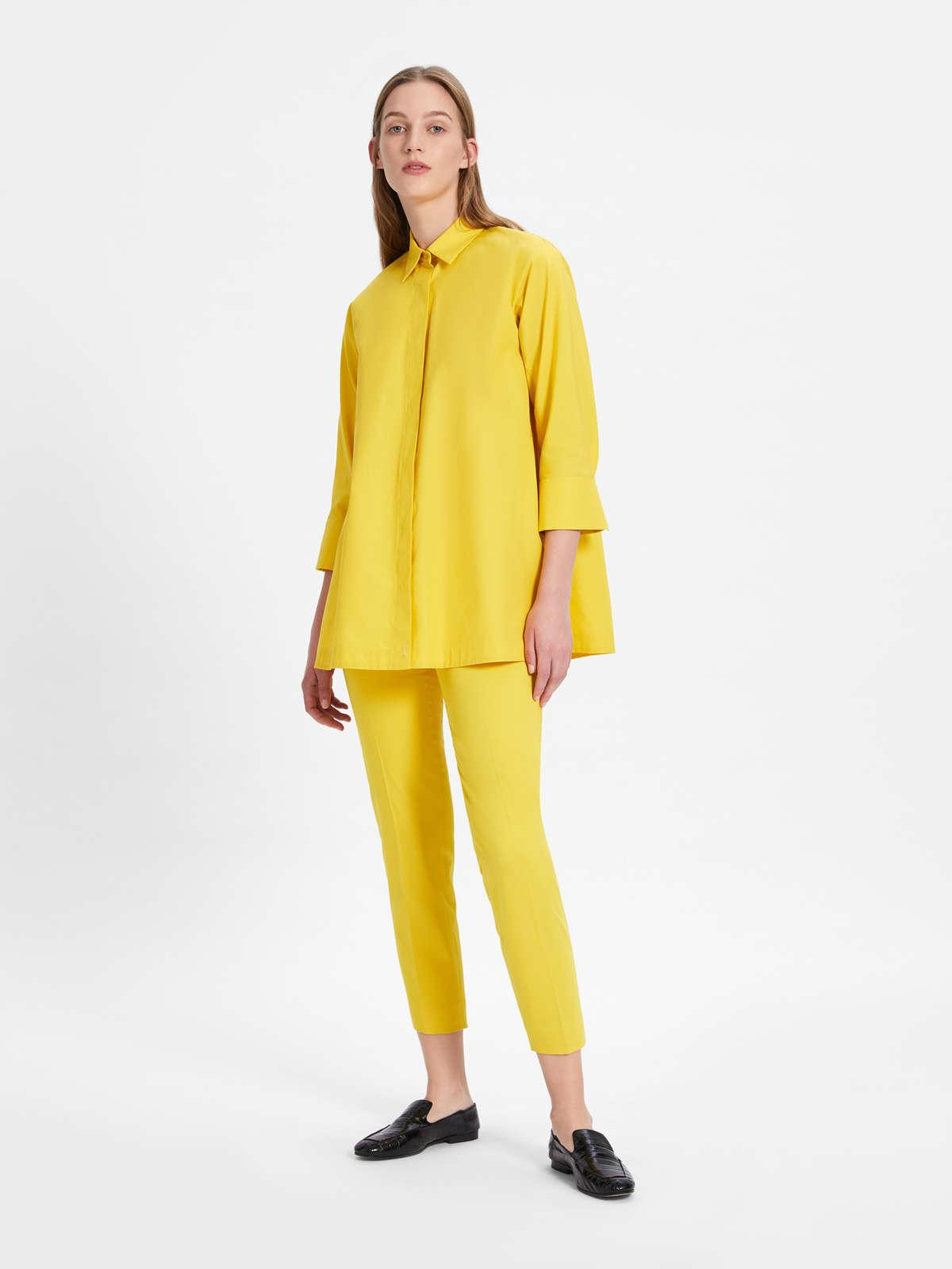 Womens Max Mara Trousers And Jeans | Stretch Cotton Satin Trousers Yellow
