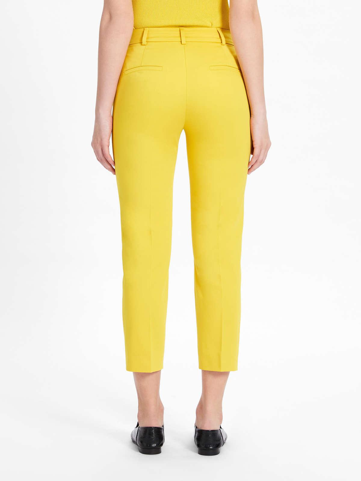 Womens Max Mara Trousers And Jeans   Stretch Cotton Satin Trousers Yellow