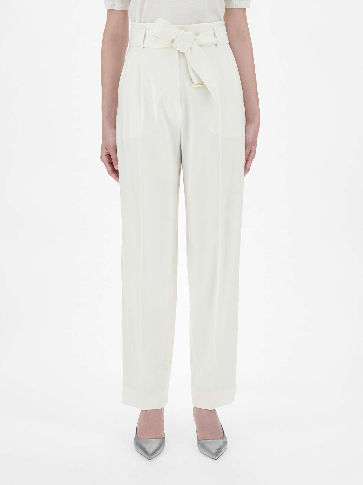 Womens Max Mara Trousers And Jeans   Wool Crepe Trousers White