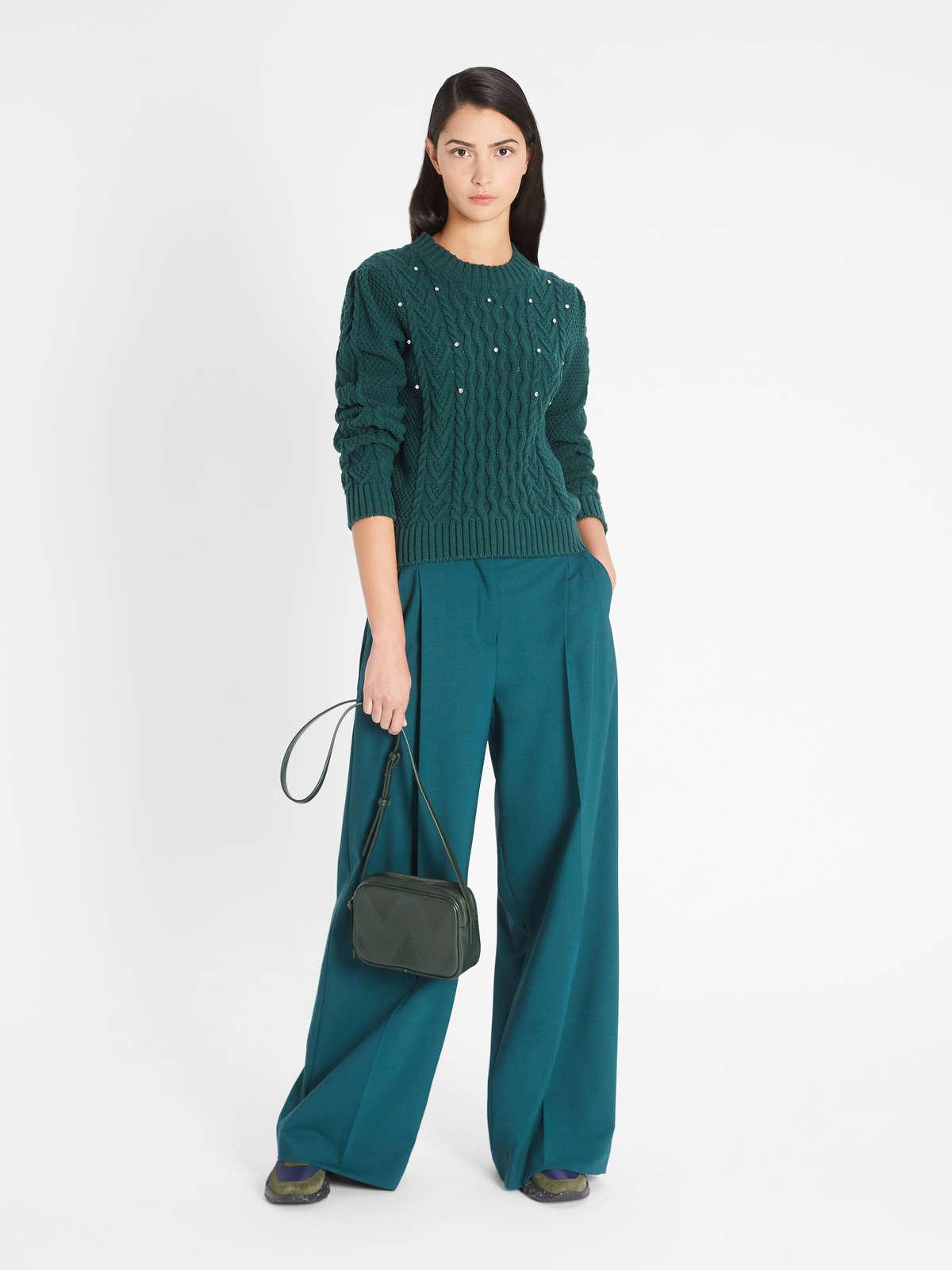 Womens Max Mara Trousers And Jeans | Woollen Cloth Trousers Dark Green