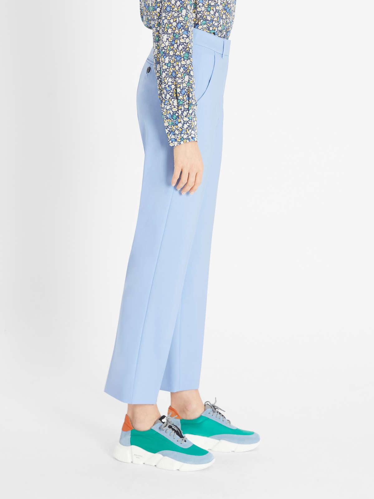 Womens Max Mara Trousers And Jeans | Woollen Cloth Trousers Sky Blue