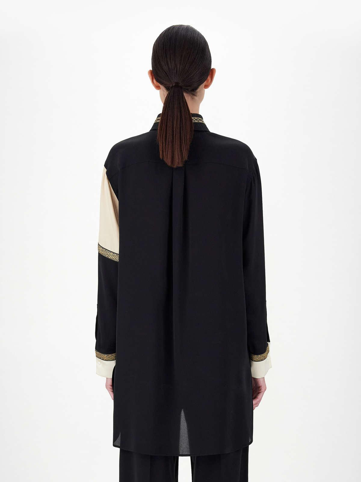 Womens Max Mara Blouses | Men'S-Style Oversized Shirt In Pure Silk Charmeuse Black