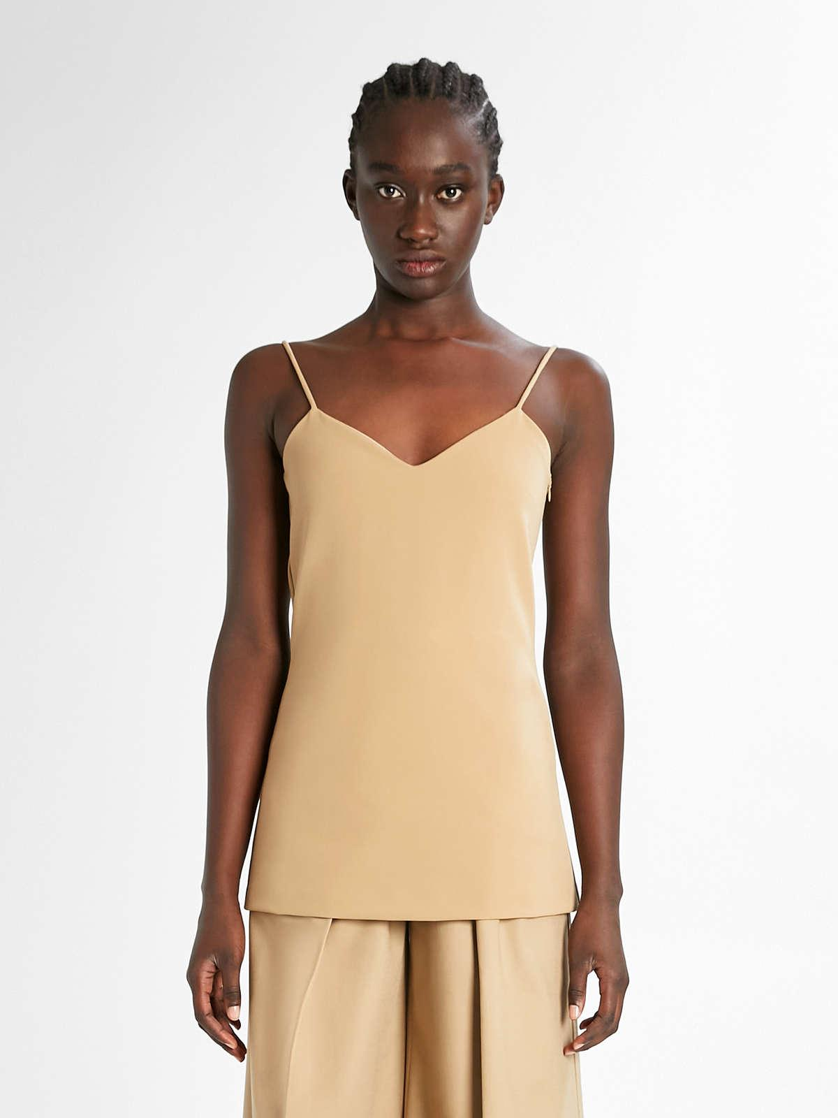 Womens Max Mara Tops And T-Shirts   Stretch Cotton Top Camel
