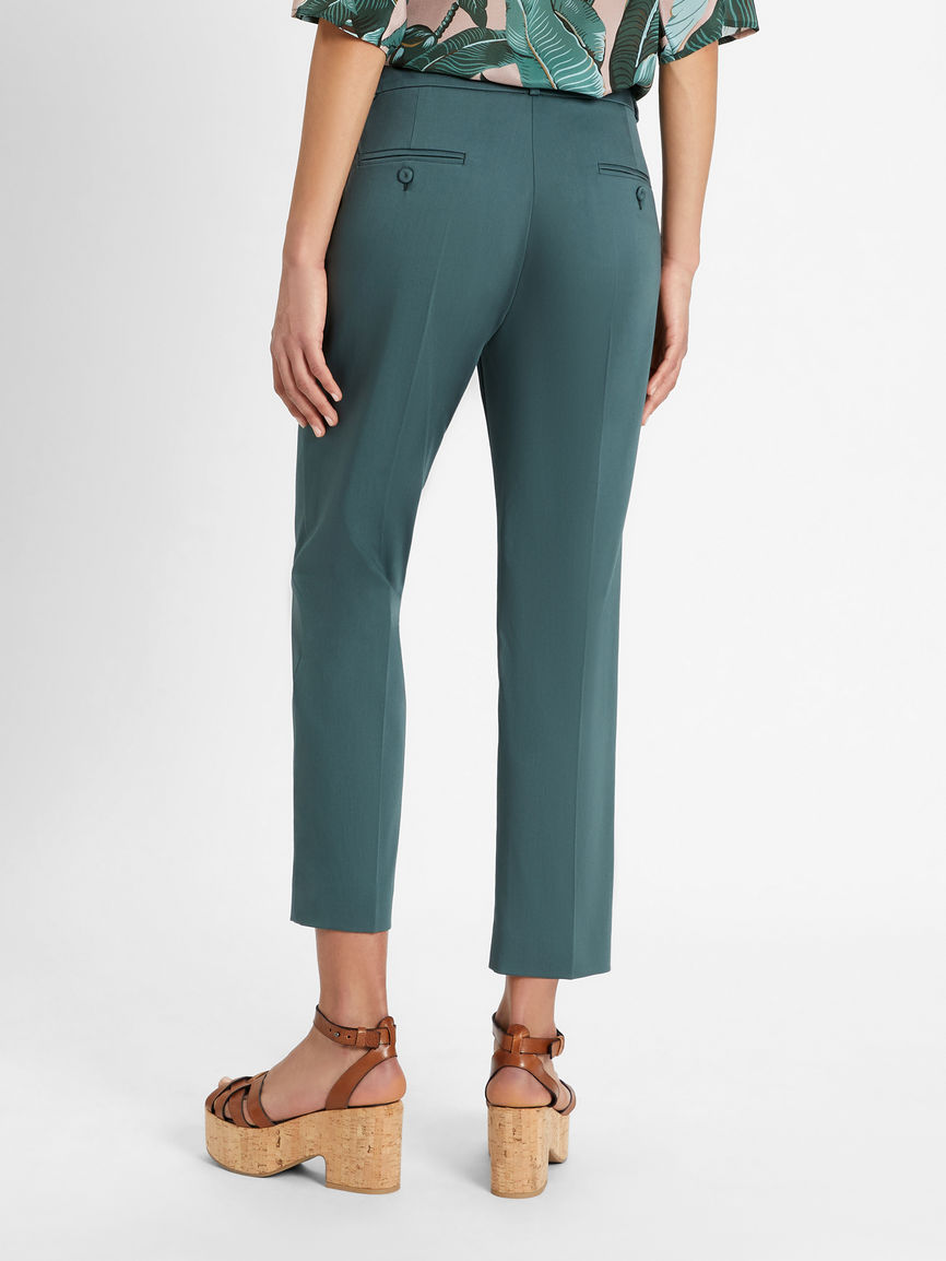 Womens Max Mara Trousers And Jeans | Cotton Sateen Trousers Dark Green