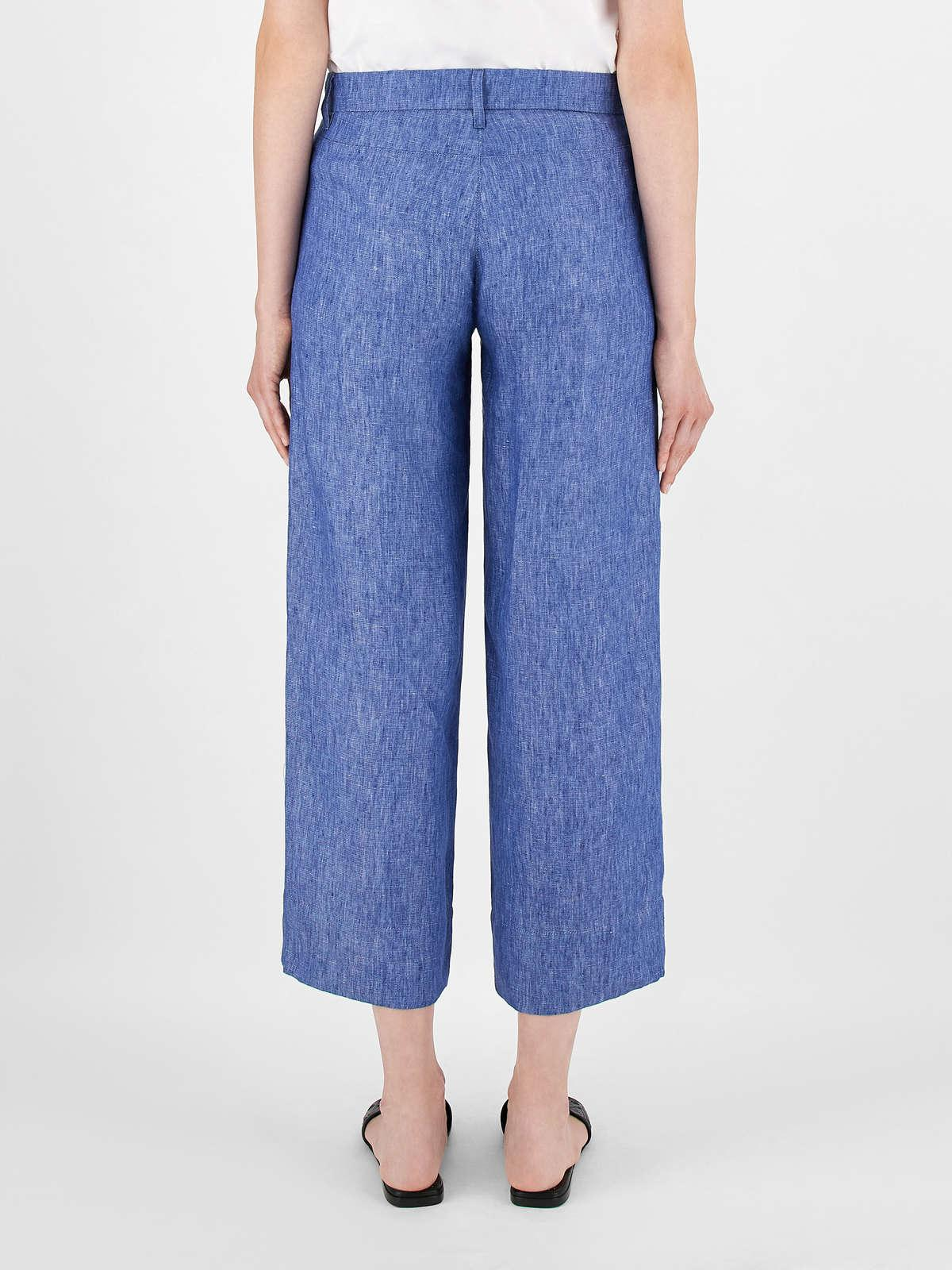 Womens Max Mara Trousers And Jeans   Faded-Look Linen Trousers Cornflower Blue