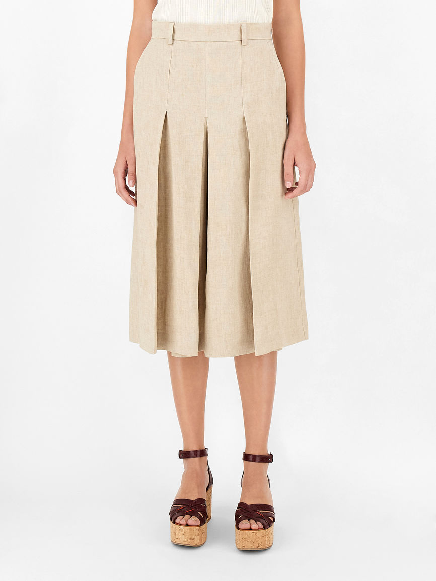 Womens Max Mara Trousers And Jeans   Linen Canvas Culottes Clay