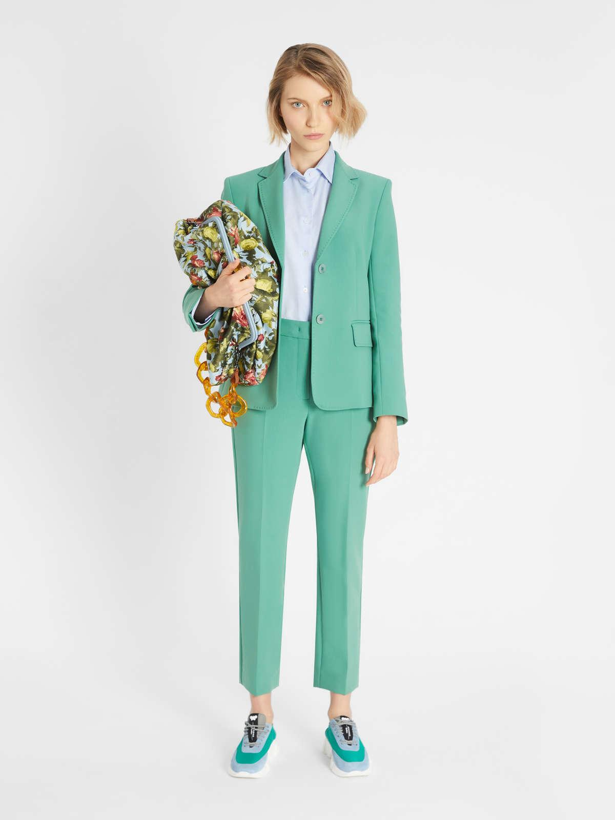 Womens Max Mara Trousers And Jeans | Viscose Canvas Trousers Green