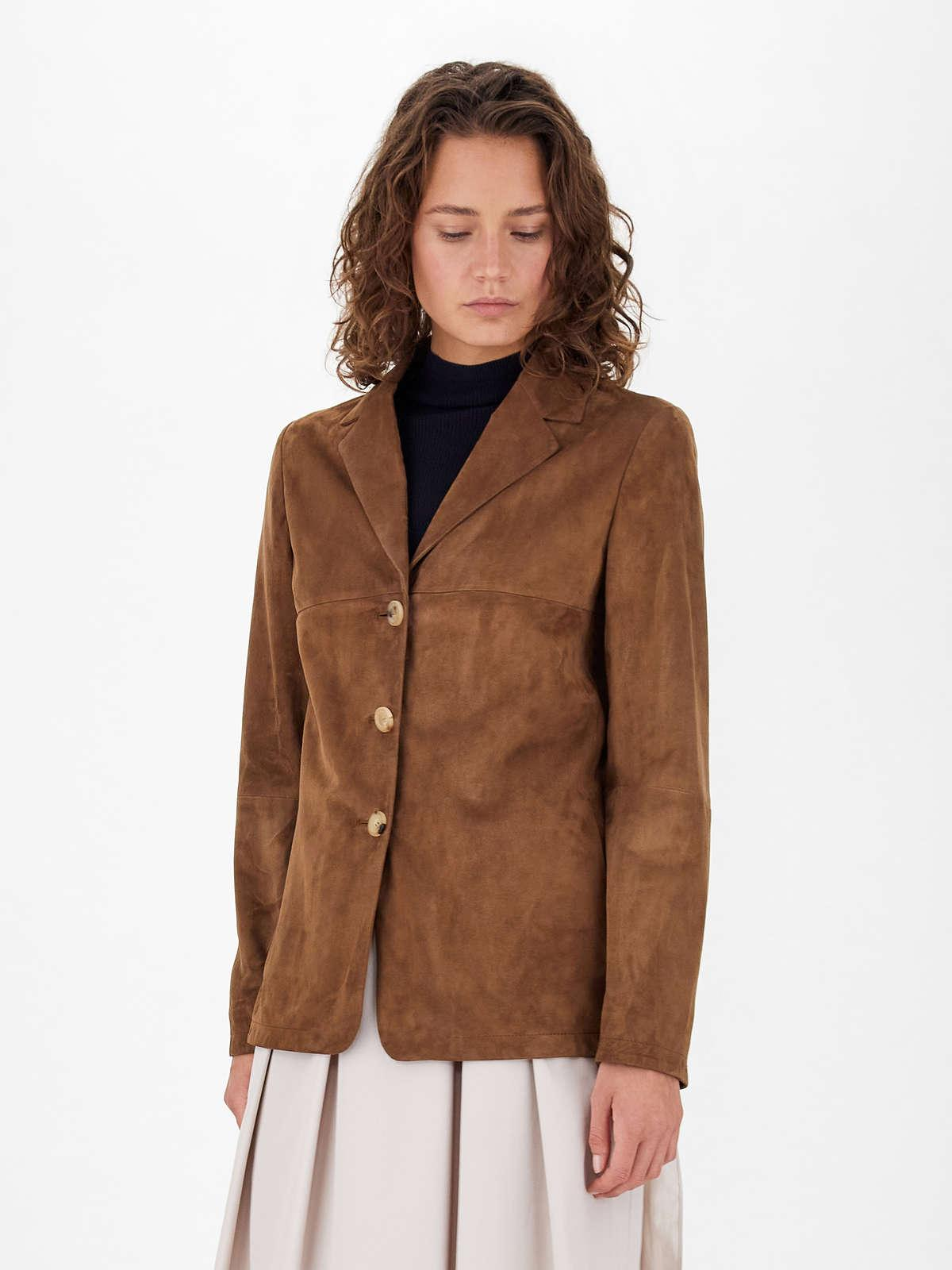 Womens Max Mara Leather And Fur Coats | Suede Jacket Tobacco