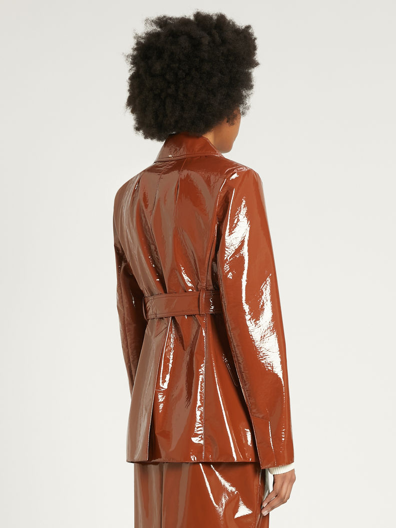 Womens Max Mara Trench | Patent Leather Trench Coat Tobacco