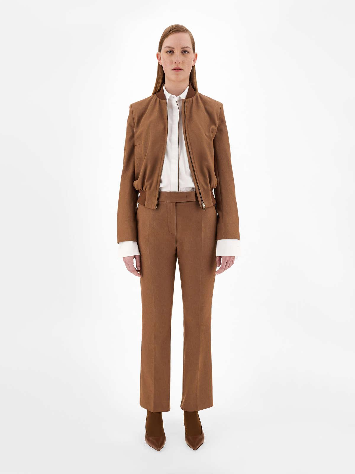 Womens Max Mara Trousers And Jeans   Denim-Effect Cotton Trousers Tobacco