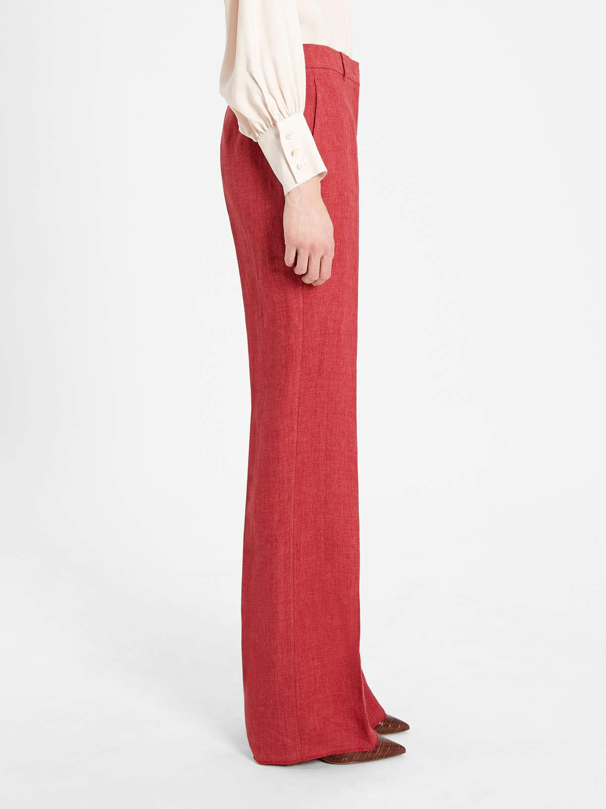 Womens Max Mara Trousers And Jeans | Linen Twill Trousers Bordeaux